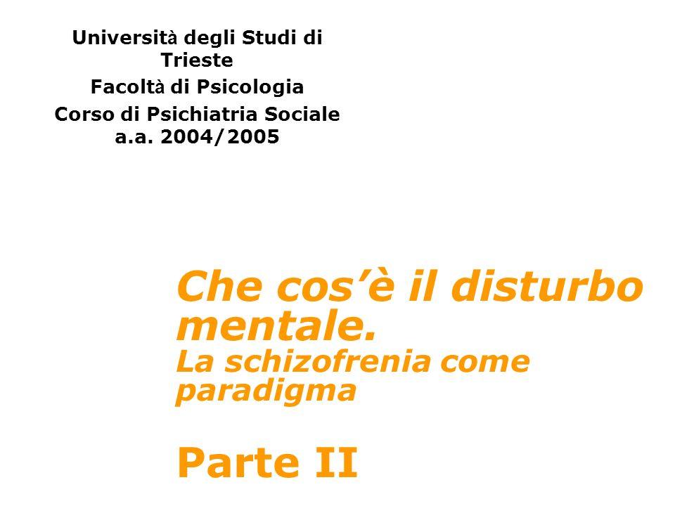 Che cosè il disturbo mentale. La schizofrenia come paradigma Parte II Universit à degli Studi di Trieste Facolt à di Psicologia Corso di Psichiatria S