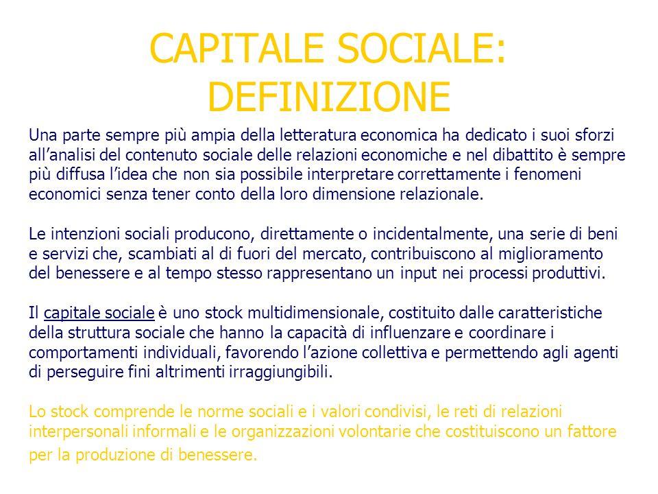 CAPITALE SOCIALE: DEFINIZIONE Una parte sempre più ampia della letteratura economica ha dedicato i suoi sforzi allanalisi del contenuto sociale delle
