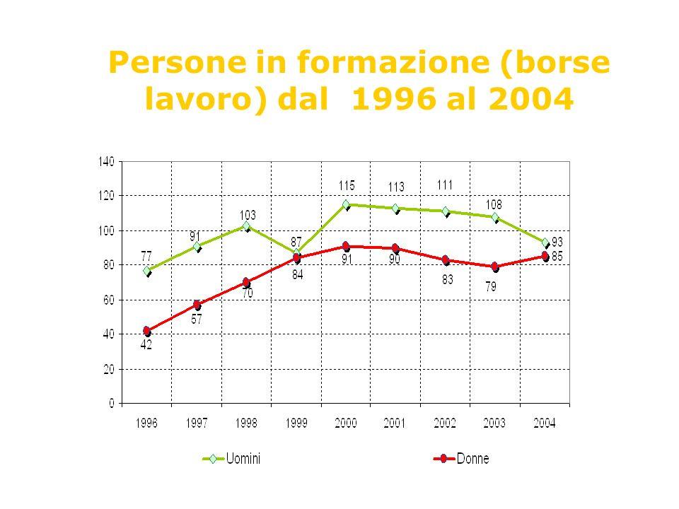 Persone in formazione (borse lavoro) dal 1996 al 2004