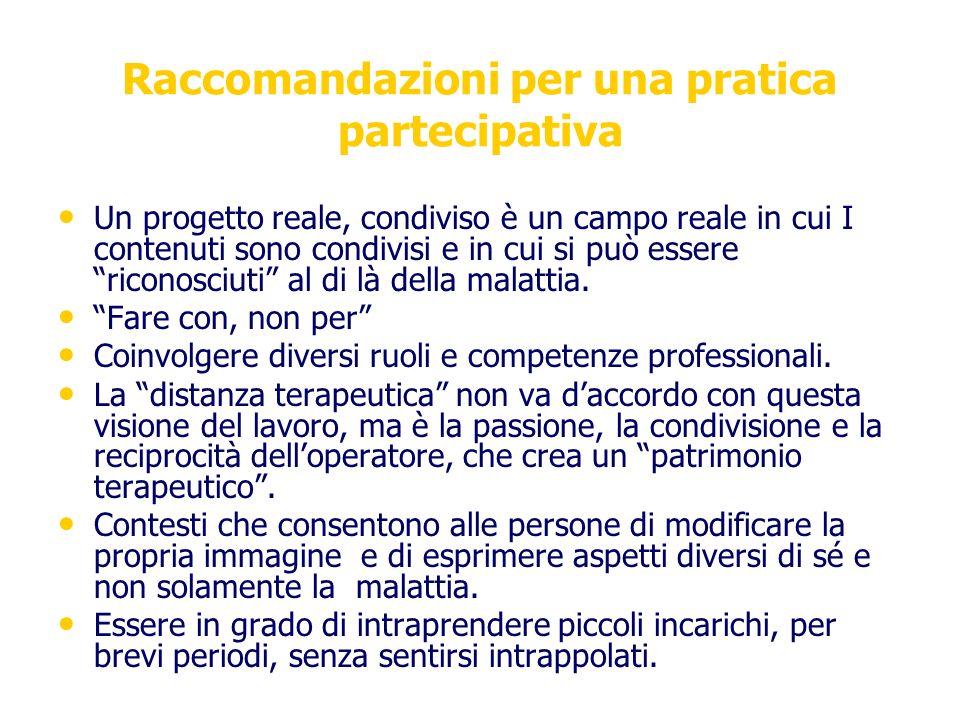 Raccomandazioni per una pratica partecipativa Un progetto reale, condiviso è un campo reale in cui I contenuti sono condivisi e in cui si può essere r