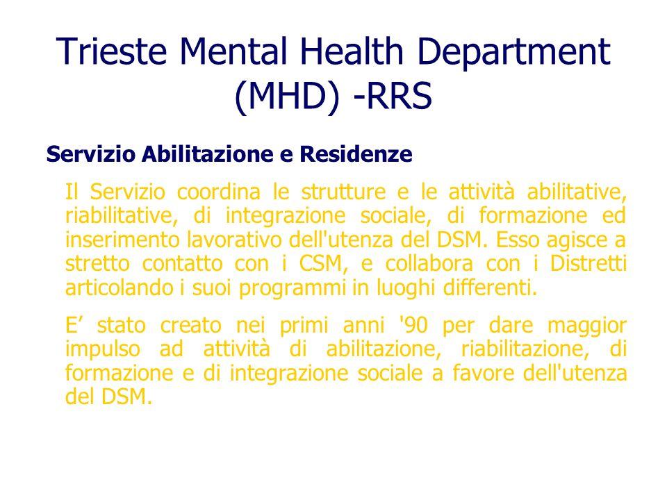 Trieste Mental Health Department (MHD) -RRS Servizio Abilitazione e Residenze Il Servizio coordina le strutture e le attività abilitative, riabilitati