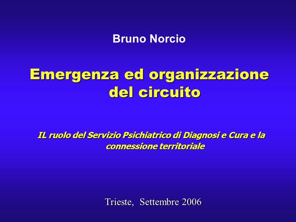 Bruno Norcio Emergenza ed organizzazione del circuito IL ruolo del Servizio Psichiatrico di Diagnosi e Cura e la connessione territoriale IL ruolo del