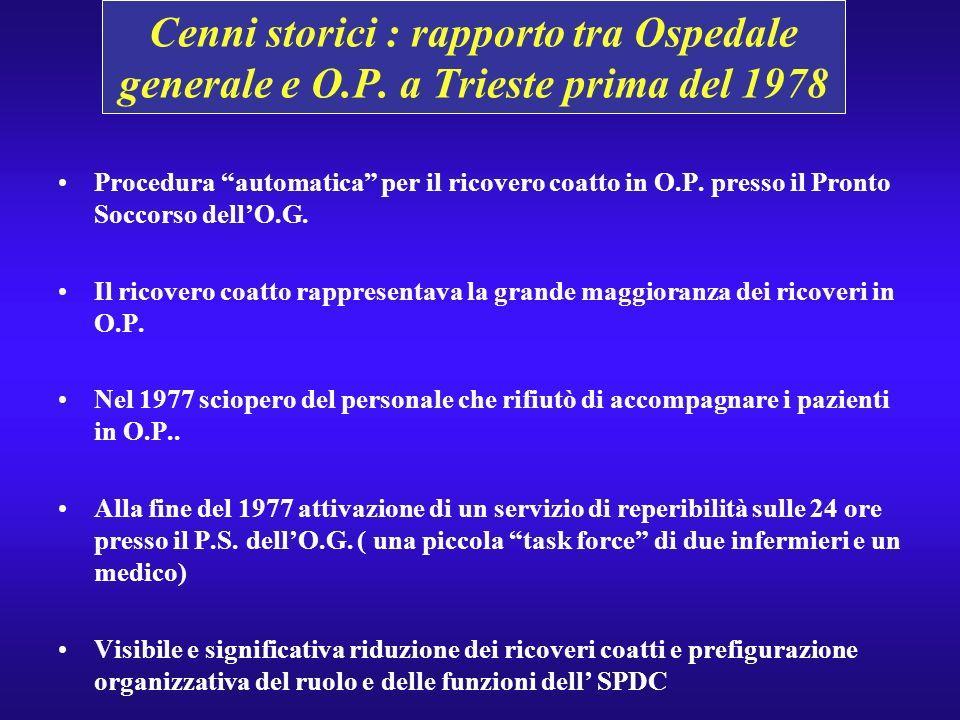 Cenni storici : rapporto tra Ospedale generale e O.P. a Trieste prima del 1978 Procedura automatica per il ricovero coatto in O.P. presso il Pronto So