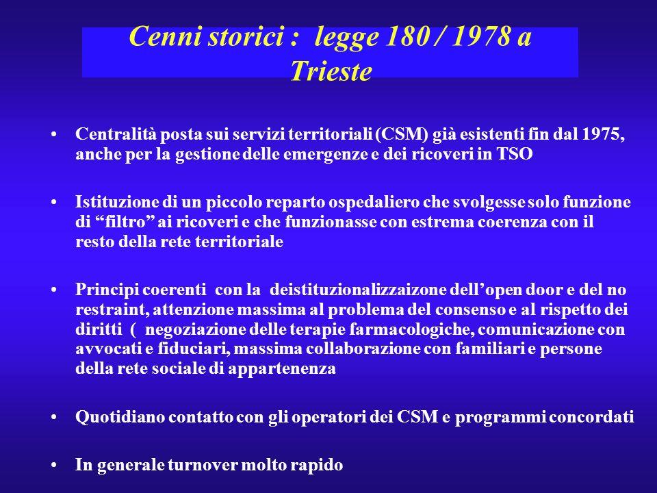 Cenni storici : legge 180 / 1978 a Trieste Centralità posta sui servizi territoriali (CSM) già esistenti fin dal 1975, anche per la gestione delle eme