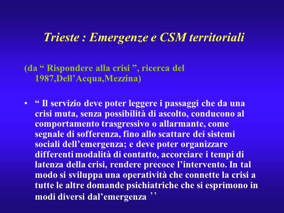 Trieste : Emergenze e CSM territoriali (da Rispondere alla crisi, ricerca del 1987,DellAcqua,Mezzina) Il servizio deve poter leggere i passaggi che da