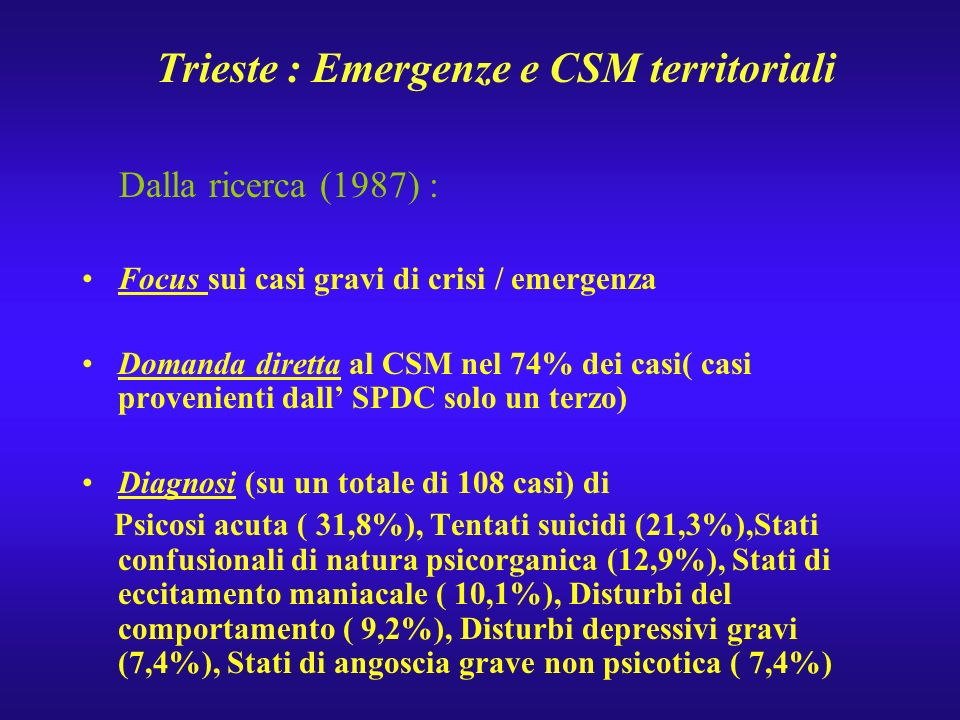 Trieste : Emergenze e CSM territoriali Dalla ricerca (1987) : Focus sui casi gravi di crisi / emergenza Domanda diretta al CSM nel 74% dei casi( casi