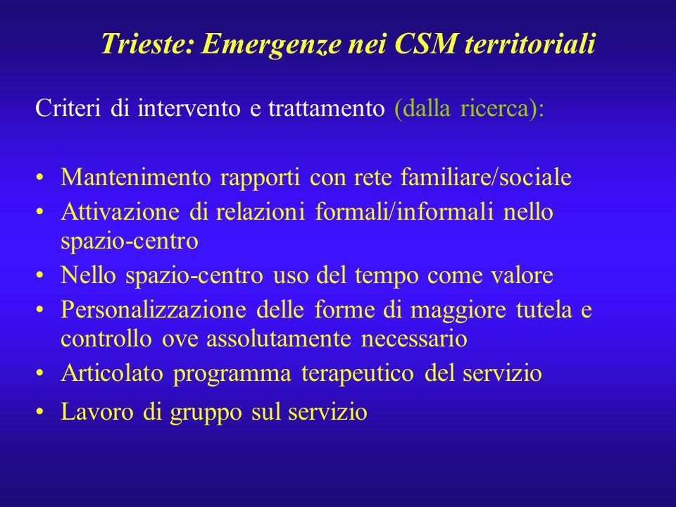 Trieste: Emergenze nei CSM territoriali Criteri di intervento e trattamento (dalla ricerca): Mantenimento rapporti con rete familiare/sociale Attivazi
