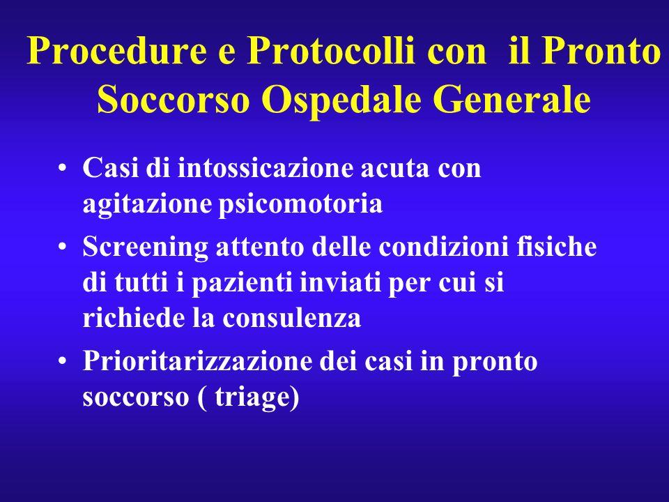 Procedure e Protocolli con il Pronto Soccorso Ospedale Generale Casi di intossicazione acuta con agitazione psicomotoria Screening attento delle condi