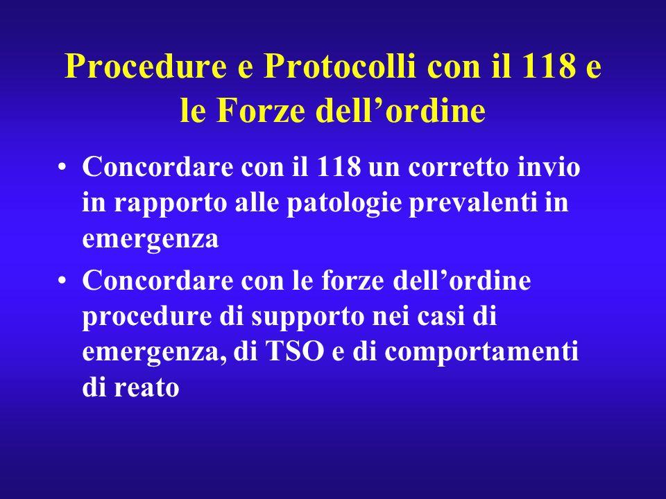 Procedure e Protocolli con il 118 e le Forze dellordine Concordare con il 118 un corretto invio in rapporto alle patologie prevalenti in emergenza Con