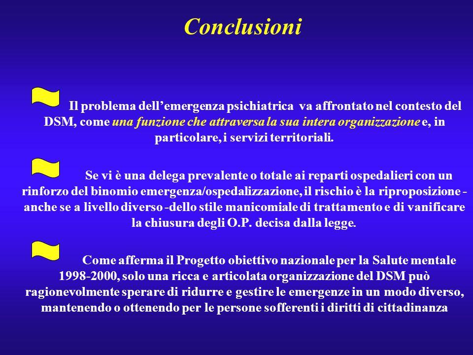 Conclusioni Il problema dellemergenza psichiatrica va affrontato nel contesto del DSM, come una funzione che attraversa la sua intera organizzazione e