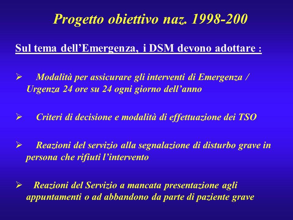 Progetto obiettivo naz. 1998-200 Sul tema dellEmergenza, i DSM devono adottare : Modalità per assicurare gli interventi di Emergenza / Urgenza 24 ore