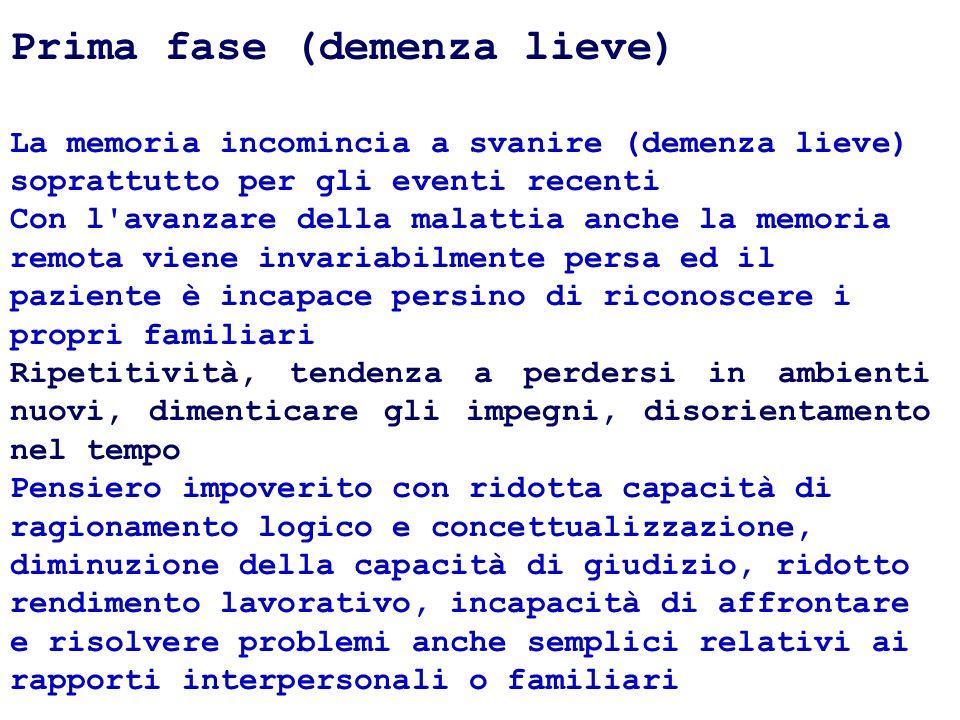 Prima fase (demenza lieve) La memoria incomincia a svanire (demenza lieve) soprattutto per gli eventi recenti Con l'avanzare della malattia anche la m
