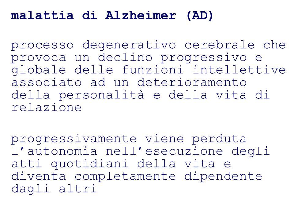 malattia di Alzheimer (AD) processo degenerativo cerebrale che provoca un declino progressivo e globale delle funzioni intellettive associato ad un de