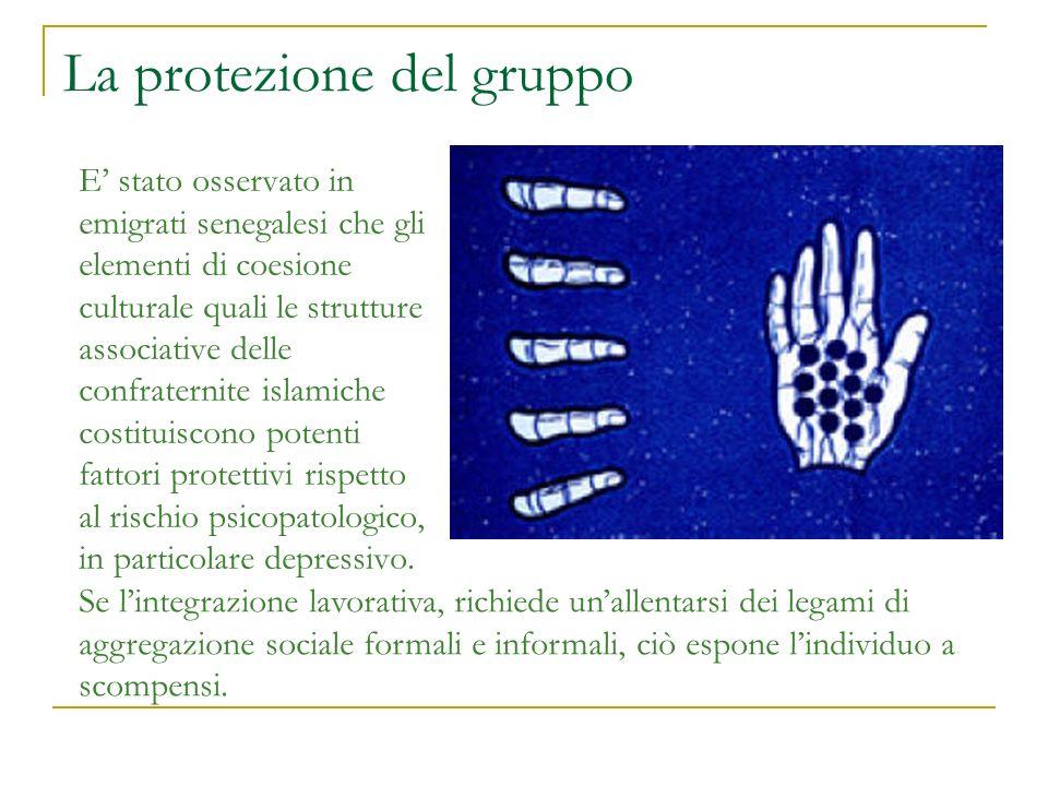 La protezione del gruppo E stato osservato in emigrati senegalesi che gli elementi di coesione culturale quali le strutture associative delle confrate