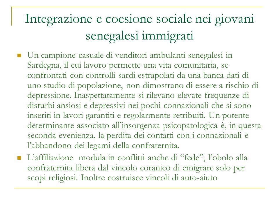 Integrazione e coesione sociale nei giovani senegalesi immigrati Un campione casuale di venditori ambulanti senegalesi in Sardegna, il cui lavoro perm