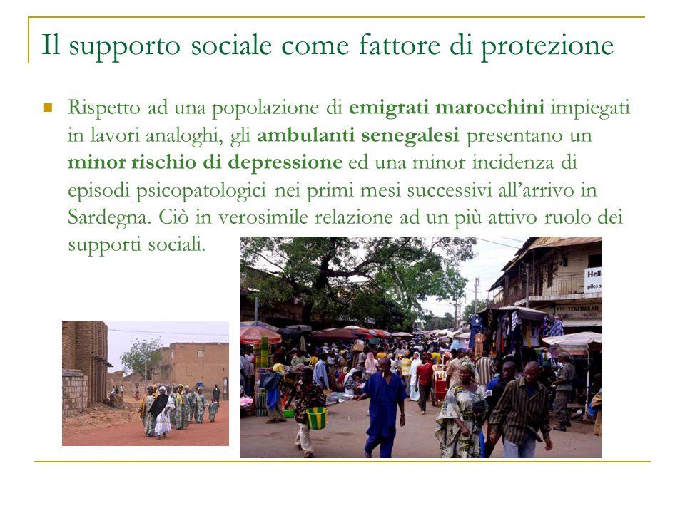 Il supporto sociale come fattore di protezione Rispetto ad una popolazione di emigrati marocchini impiegati in lavori analoghi, gli ambulanti senegale
