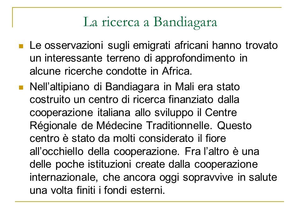 La ricerca a Bandiagara Le osservazioni sugli emigrati africani hanno trovato un interessante terreno di approfondimento in alcune ricerche condotte i