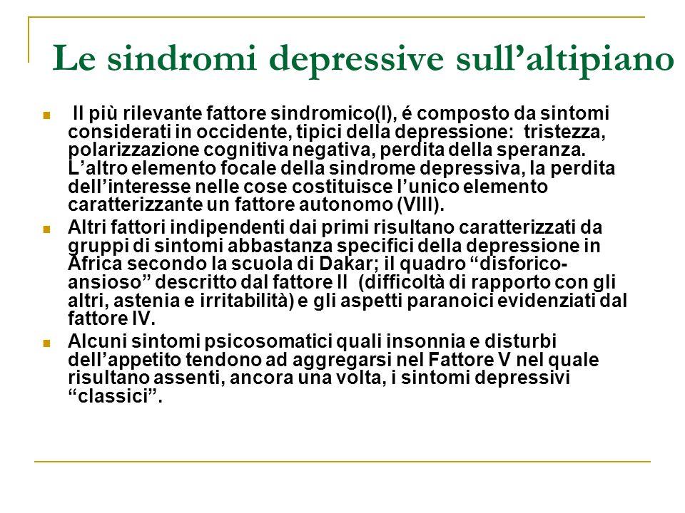 Le sindromi depressive sullaltipiano Il più rilevante fattore sindromico(I), é composto da sintomi considerati in occidente, tipici della depressione: