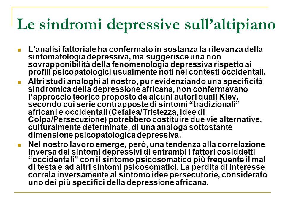 Le sindromi depressive sullaltipiano Lanalisi fattoriale ha confermato in sostanza la rilevanza della sintomatologia depressiva, ma suggerisce una non