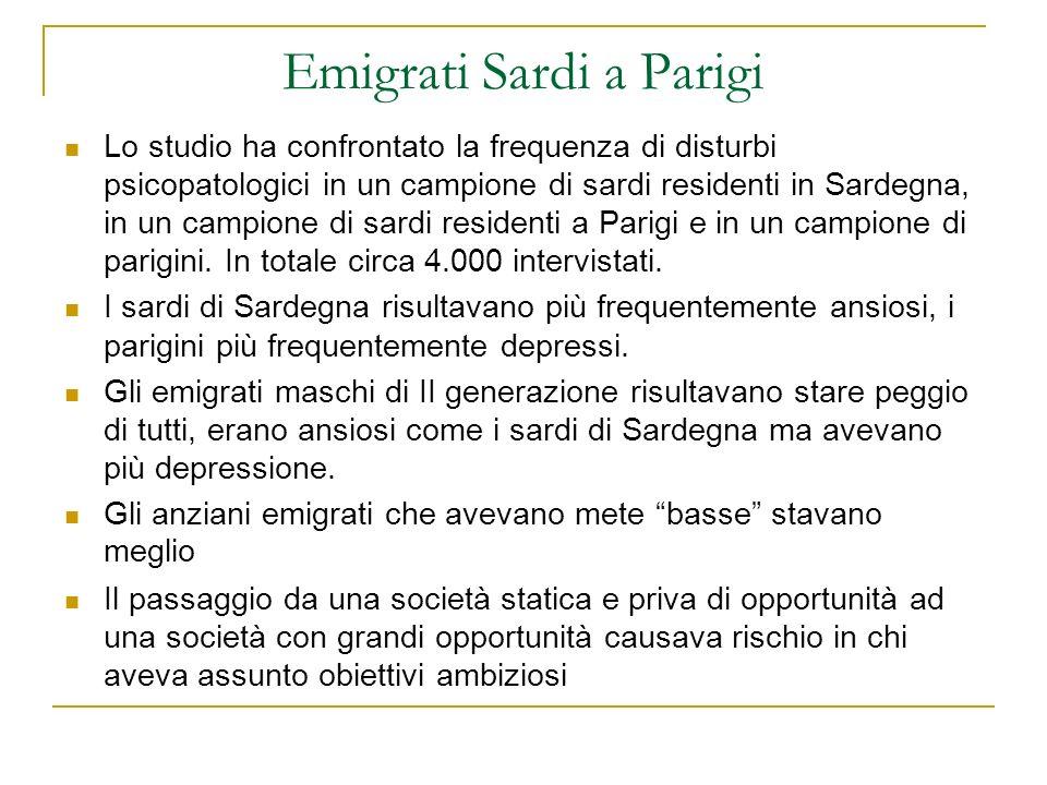 Emigrati Sardi a Parigi Lo studio ha confrontato la frequenza di disturbi psicopatologici in un campione di sardi residenti in Sardegna, in un campion