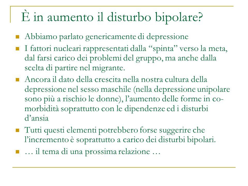 È in aumento il disturbo bipolare? Abbiamo parlato genericamente di depressione I fattori nucleari rappresentati dalla spinta verso la meta, dal farsi
