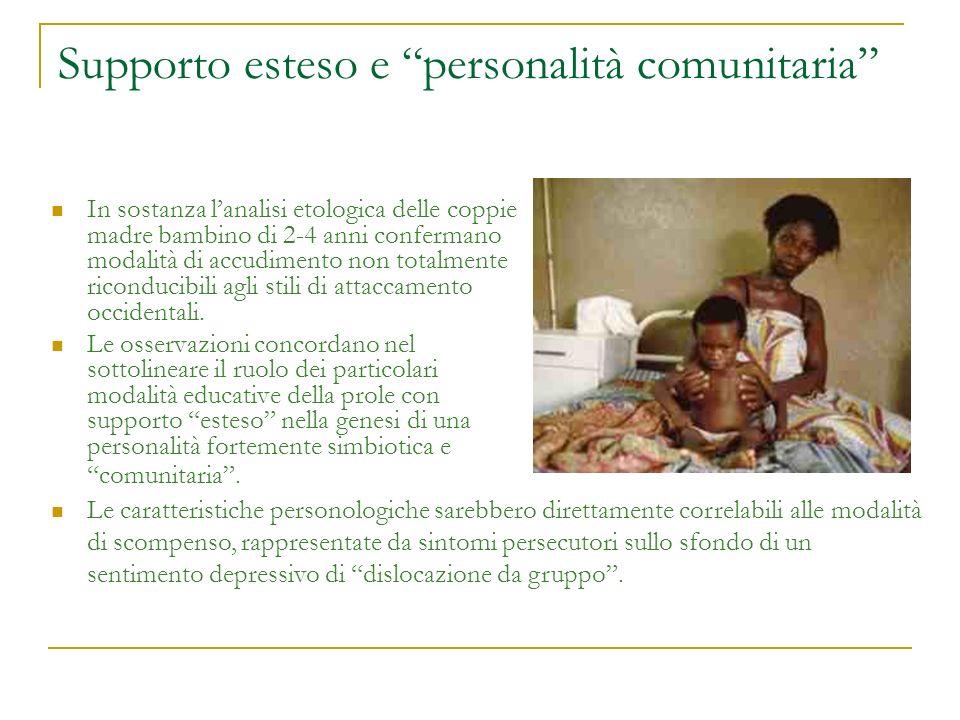 Supporto esteso e personalità comunitaria In sostanza lanalisi etologica delle coppie madre bambino di 2-4 anni confermano modalità di accudimento non