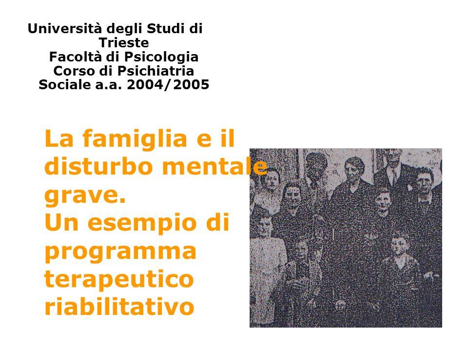 Università degli Studi di Trieste Facoltà di Psicologia Corso di Psichiatria Sociale a.a. 2004/2005 La famiglia e il disturbo mentale grave. Un esempi