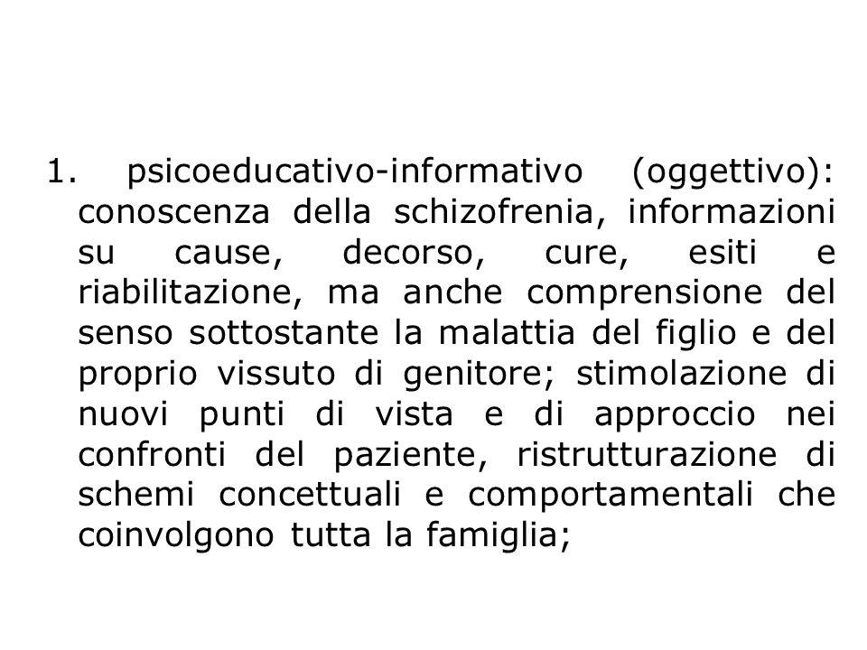 Obiettivi 1. psicoeducativo-informativo (oggettivo): conoscenza della schizofrenia, informazioni su cause, decorso, cure, esiti e riabilitazione, ma a
