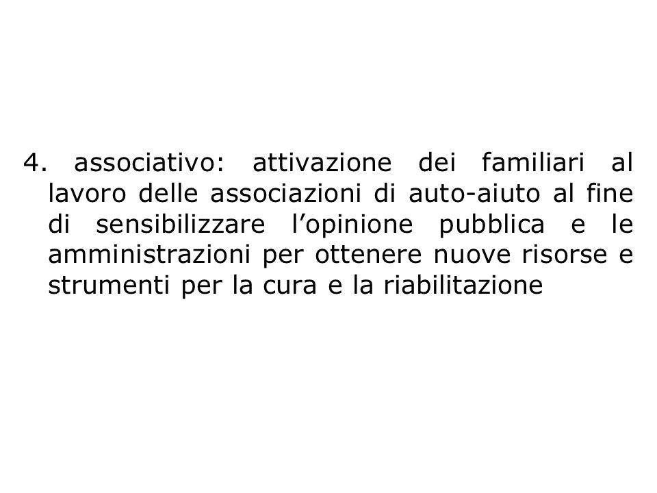 Obiettivi 4. associativo: attivazione dei familiari al lavoro delle associazioni di auto-aiuto al fine di sensibilizzare lopinione pubblica e le ammin