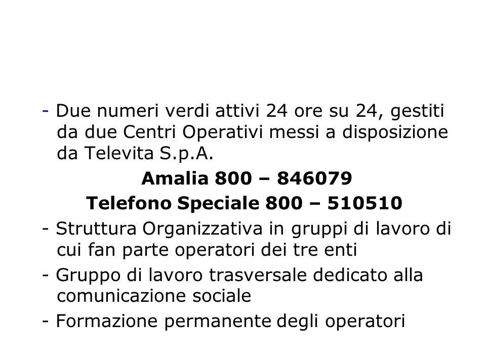 Elementi comuni ai due servizi: - Due numeri verdi attivi 24 ore su 24, gestiti da due Centri Operativi messi a disposizione da Televita S.p.A.