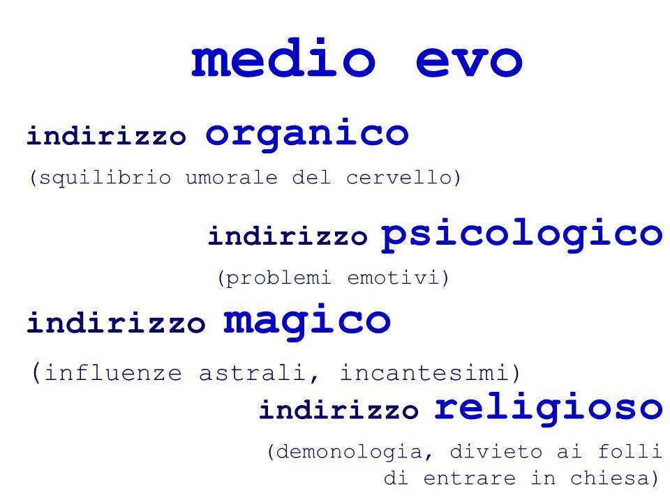 medio evo indirizzo organico (squilibrio umorale del cervello) indirizzo magico ( influenze astrali, incantesimi) indirizzo psicologico (problemi emot