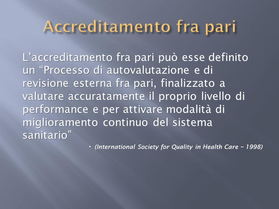 Laccreditamento fra pari può esse definito un Processo di autovalutazione e di revisione esterna fra pari, finalizzato a valutare accuratamente il pro
