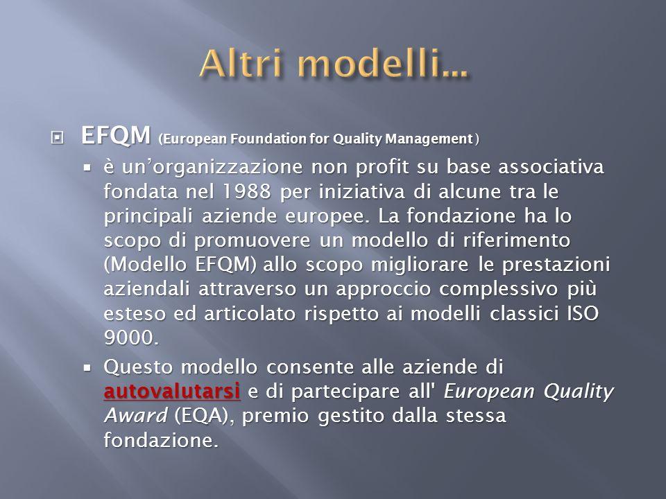 EFQM (European Foundation for Quality Management ) EFQM (European Foundation for Quality Management ) è unorganizzazione non profit su base associativ