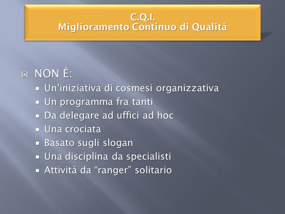 NON È: NON È: Uniniziativa di cosmesi organizzativa Uniniziativa di cosmesi organizzativa Un programma fra tanti Un programma fra tanti Da delegare ad