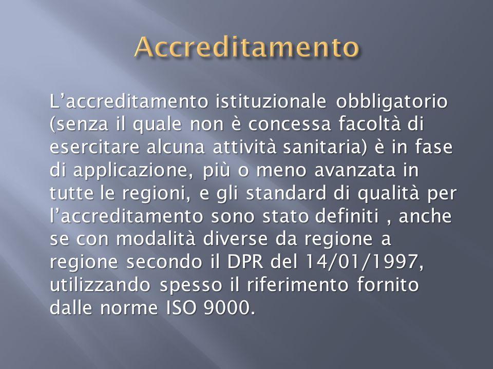 Laccreditamento istituzionale obbligatorio (senza il quale non è concessa facoltà di esercitare alcuna attività sanitaria) è in fase di applicazione,