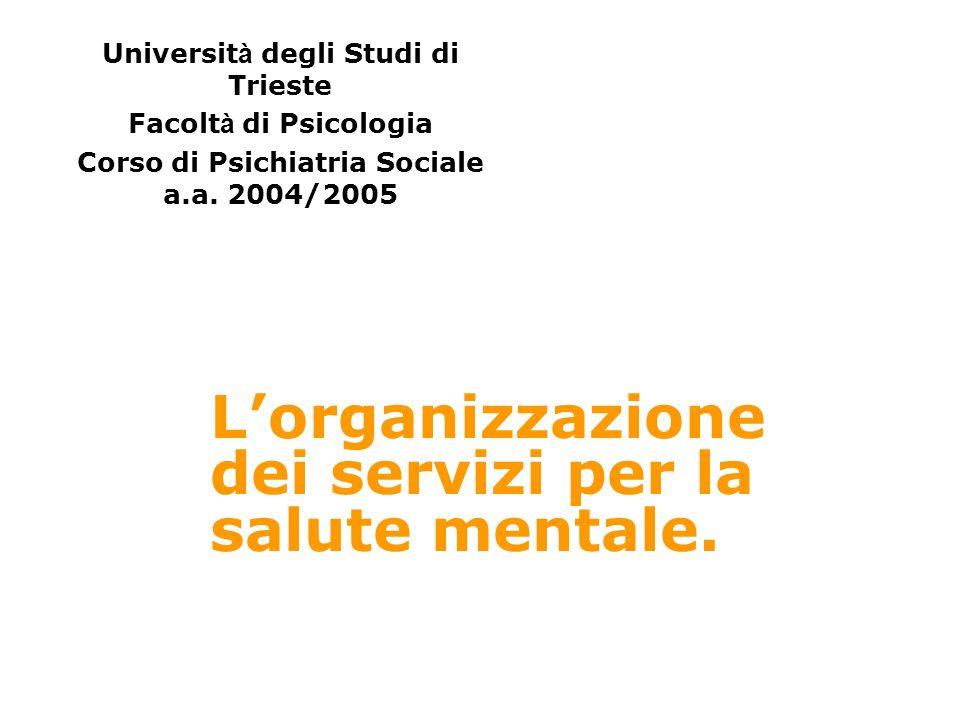 Lorganizzazione dei servizi per la salute mentale.