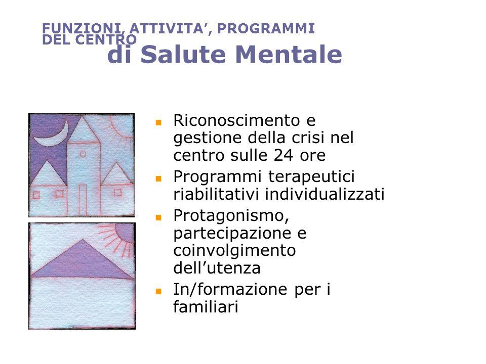 FUNZIONI, ATTIVITA, PROGRAMMI DEL CENTRO di Salute Mentale Riconoscimento e gestione della crisi nel centro sulle 24 ore Programmi terapeutici riabili