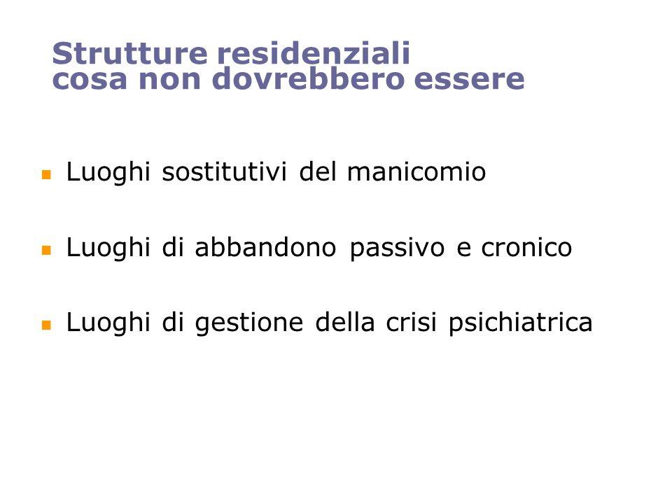 Strutture residenziali cosa non dovrebbero essere Luoghi sostitutivi del manicomio Luoghi di abbandono passivo e cronico Luoghi di gestione della cris