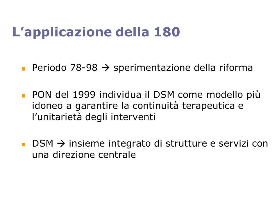 Lapplicazione della 180 Periodo 78-98 sperimentazione della riforma PON del 1999 individua il DSM come modello più idoneo a garantire la continuità terapeutica e lunitarietà degli interventi DSM insieme integrato di strutture e servizi con una direzione centrale
