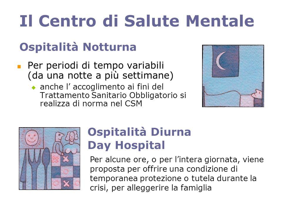 Ospitalità Notturna Per periodi di tempo variabili (da una notte a più settimane) anche l accoglimento ai fini del Trattamento Sanitario Obbligatorio