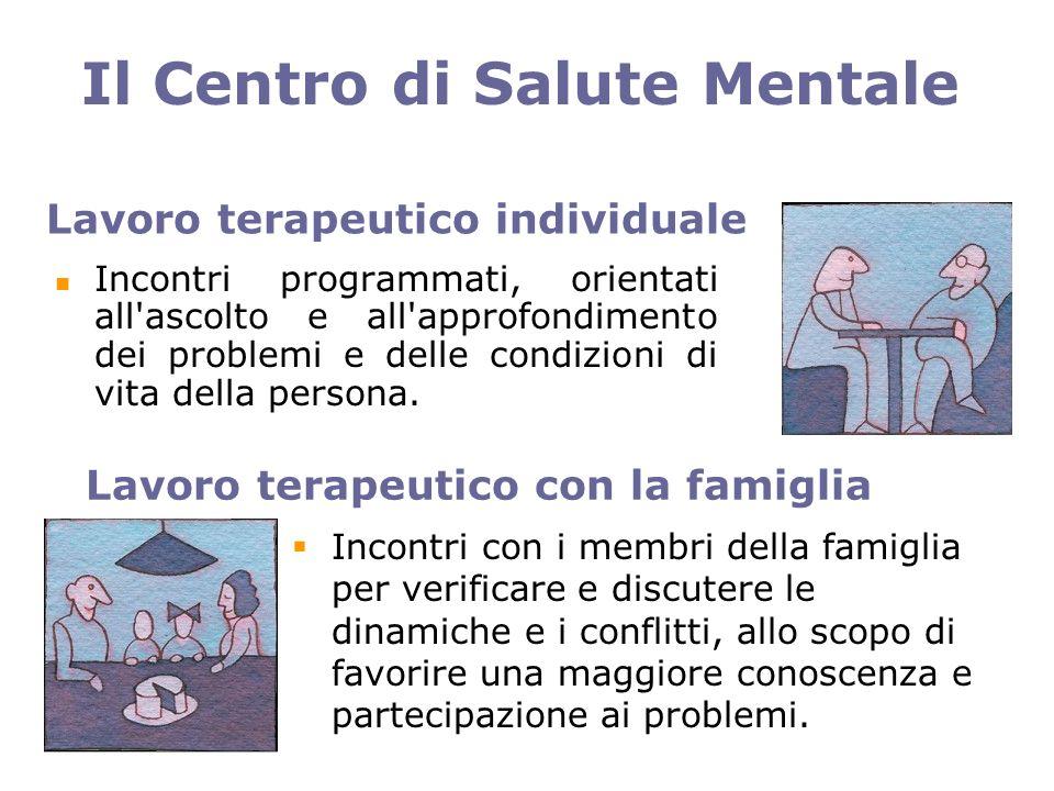 Lavoro terapeutico individuale Incontri programmati, orientati all ascolto e all approfondimento dei problemi e delle condizioni di vita della persona.