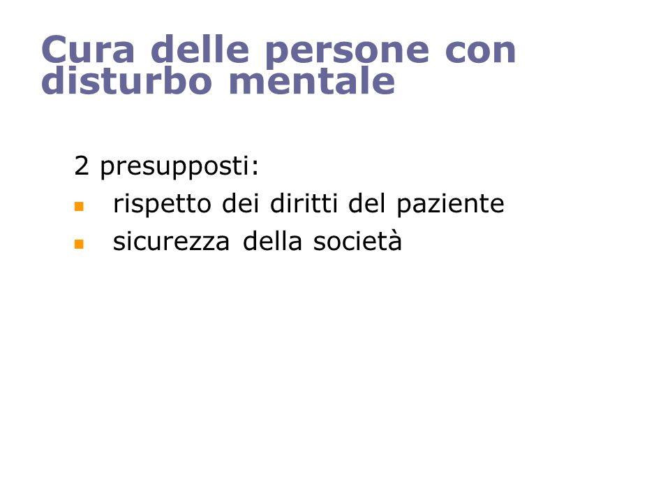 Cura delle persone con disturbo mentale 2 presupposti: rispetto dei diritti del paziente sicurezza della società