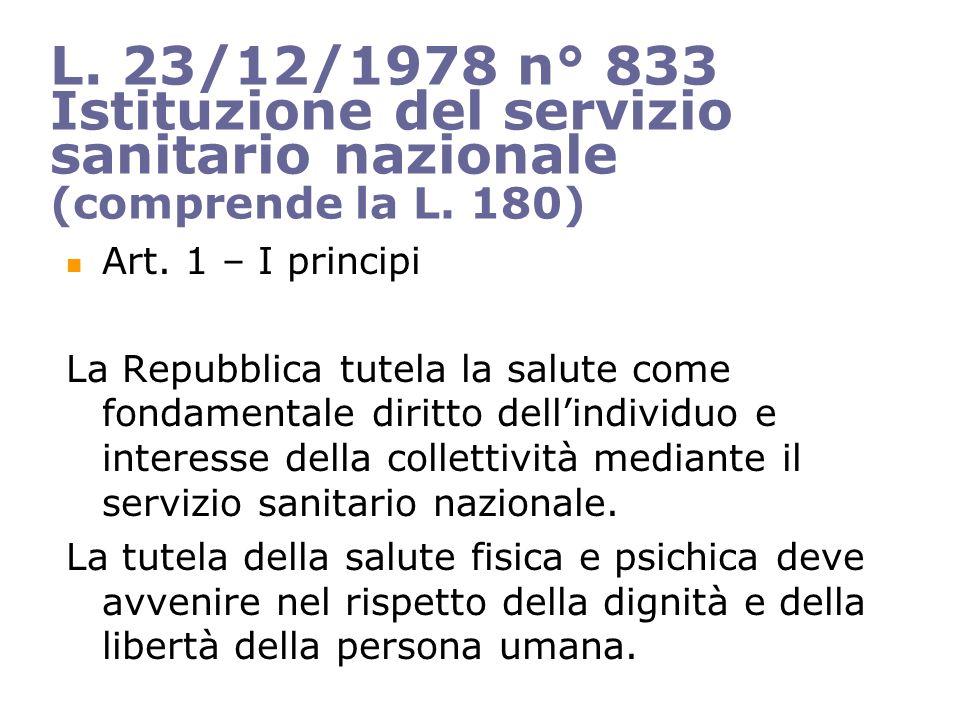 L.23/12/1978 n° 833 Istituzione del servizio sanitario nazionale (comprende la L.