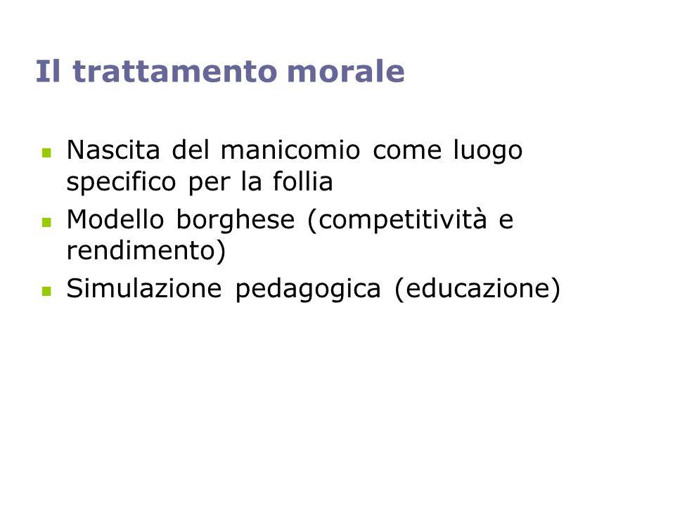 Il trattamento morale Nascita del manicomio come luogo specifico per la follia Modello borghese (competitività e rendimento) Simulazione pedagogica (e