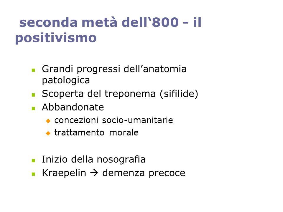 seconda metà dell800 - il positivismo Grandi progressi dellanatomia patologica Scoperta del treponema (sifilide) Abbandonate concezioni socio-umanitar
