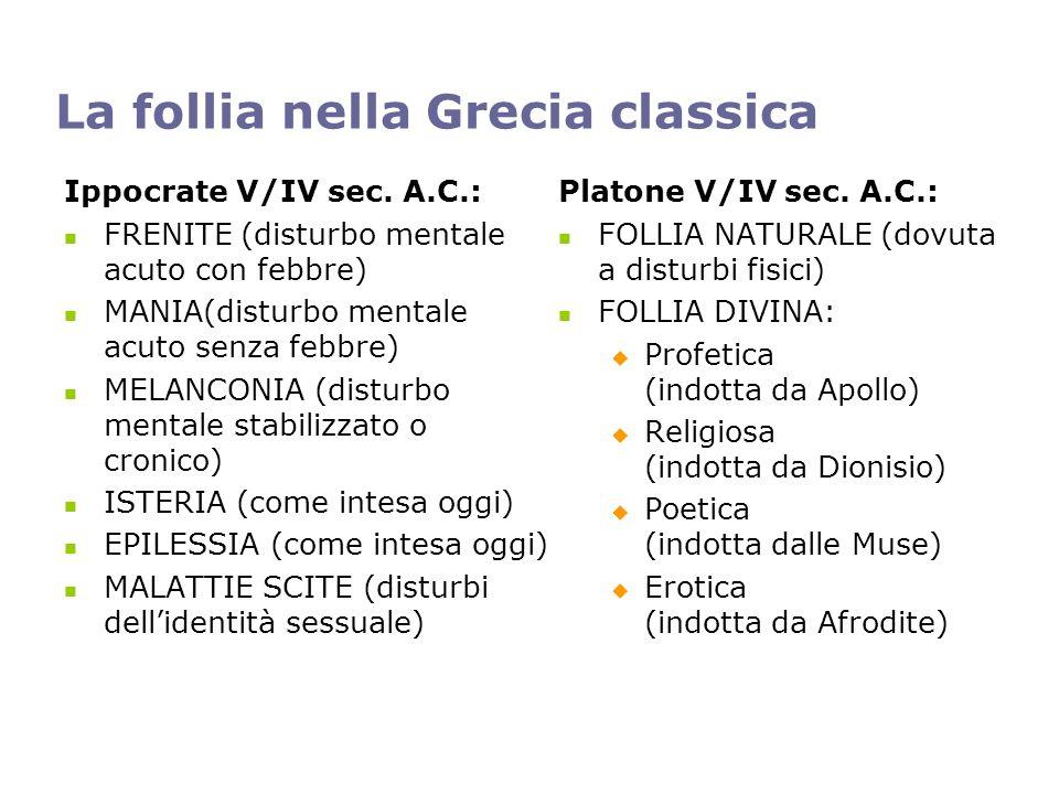 La follia nella Grecia classica Ippocrate V/IV sec. A.C.: FRENITE (disturbo mentale acuto con febbre) MANIA(disturbo mentale acuto senza febbre) MELAN