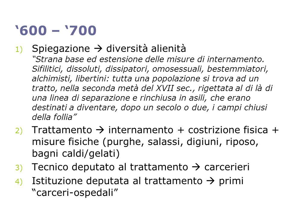 600 – 700 1) Spiegazione diversità alienità Strana base ed estensione delle misure di internamento. Sifilitici, dissoluti, dissipatori, omosessuali, b
