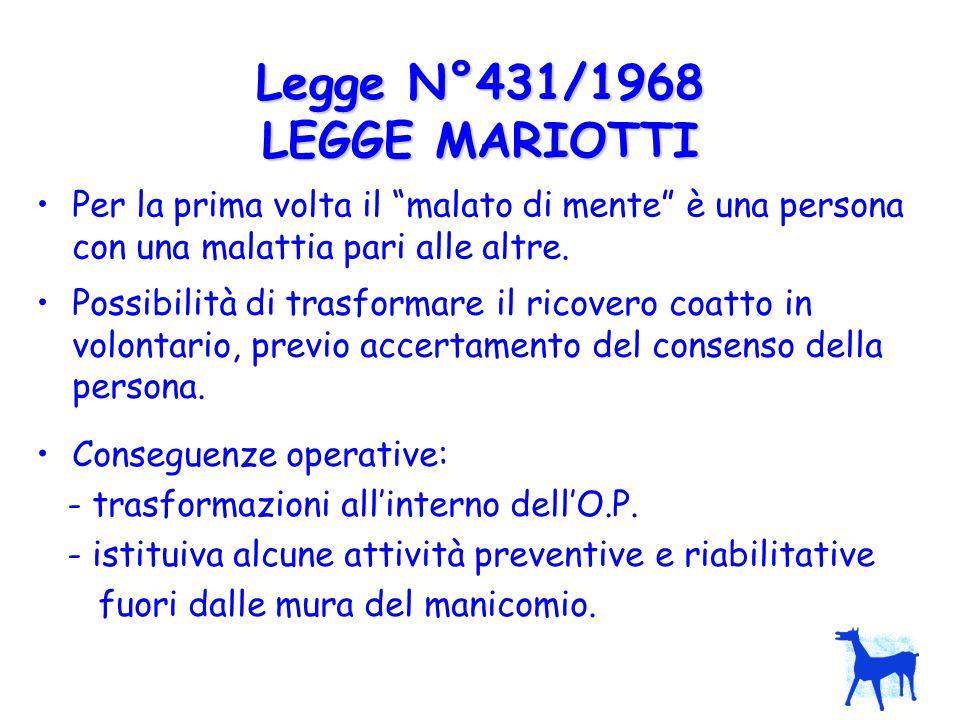 Possibilità di trasformare il ricovero coatto in volontario, previo accertamento del consenso della persona. Legge N°431/1968 LEGGE MARIOTTI Conseguen