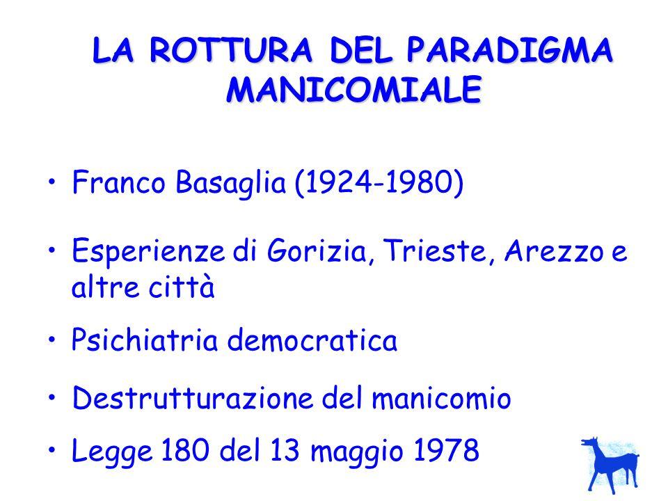 LA ROTTURA DEL PARADIGMA MANICOMIALE Franco Basaglia (1924-1980) Esperienze di Gorizia, Trieste, Arezzo e altre città Psichiatria democratica Destrutt