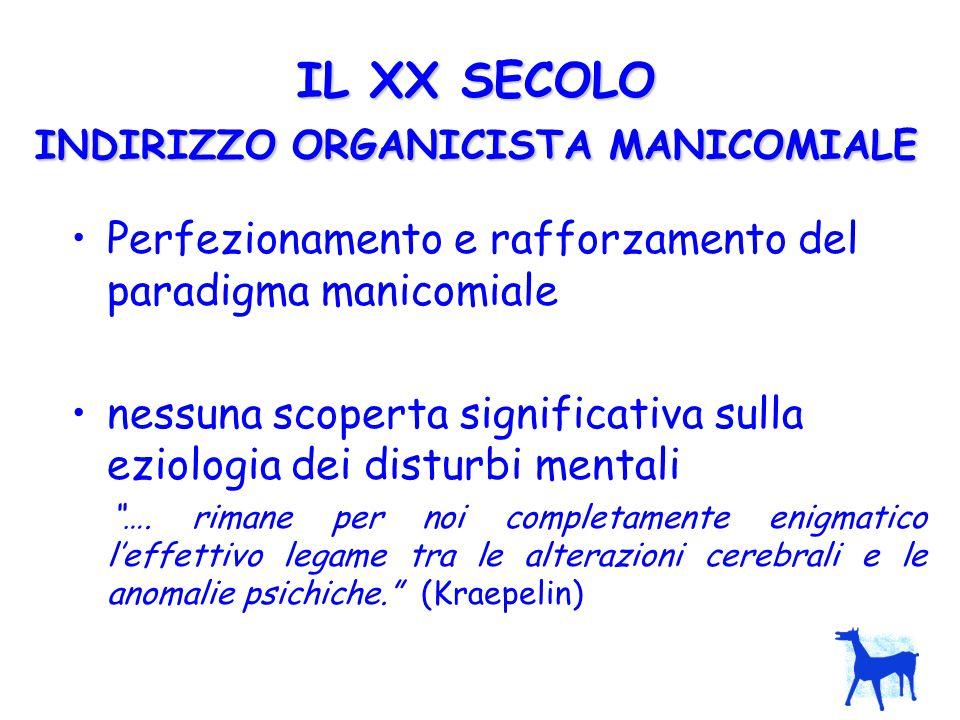 IL XX SECOLO INDIRIZZO ORGANICISTA MANICOMIALE Perfezionamento e rafforzamento del paradigma manicomiale nessuna scoperta significativa sulla eziologi
